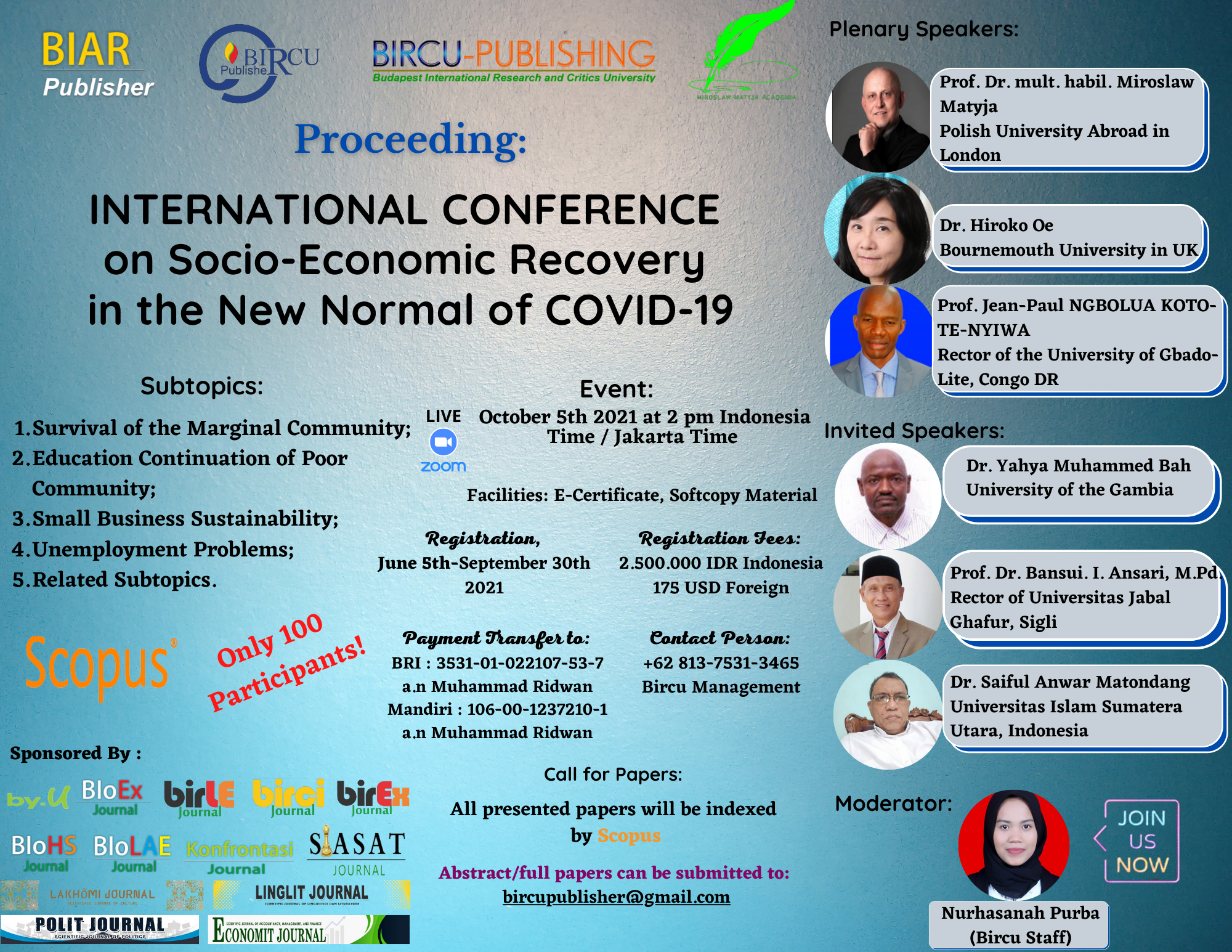 INTERNATIONAL CONFERENCE on Socio-Economic Recovery in the New Normal of COVID 19 (6)