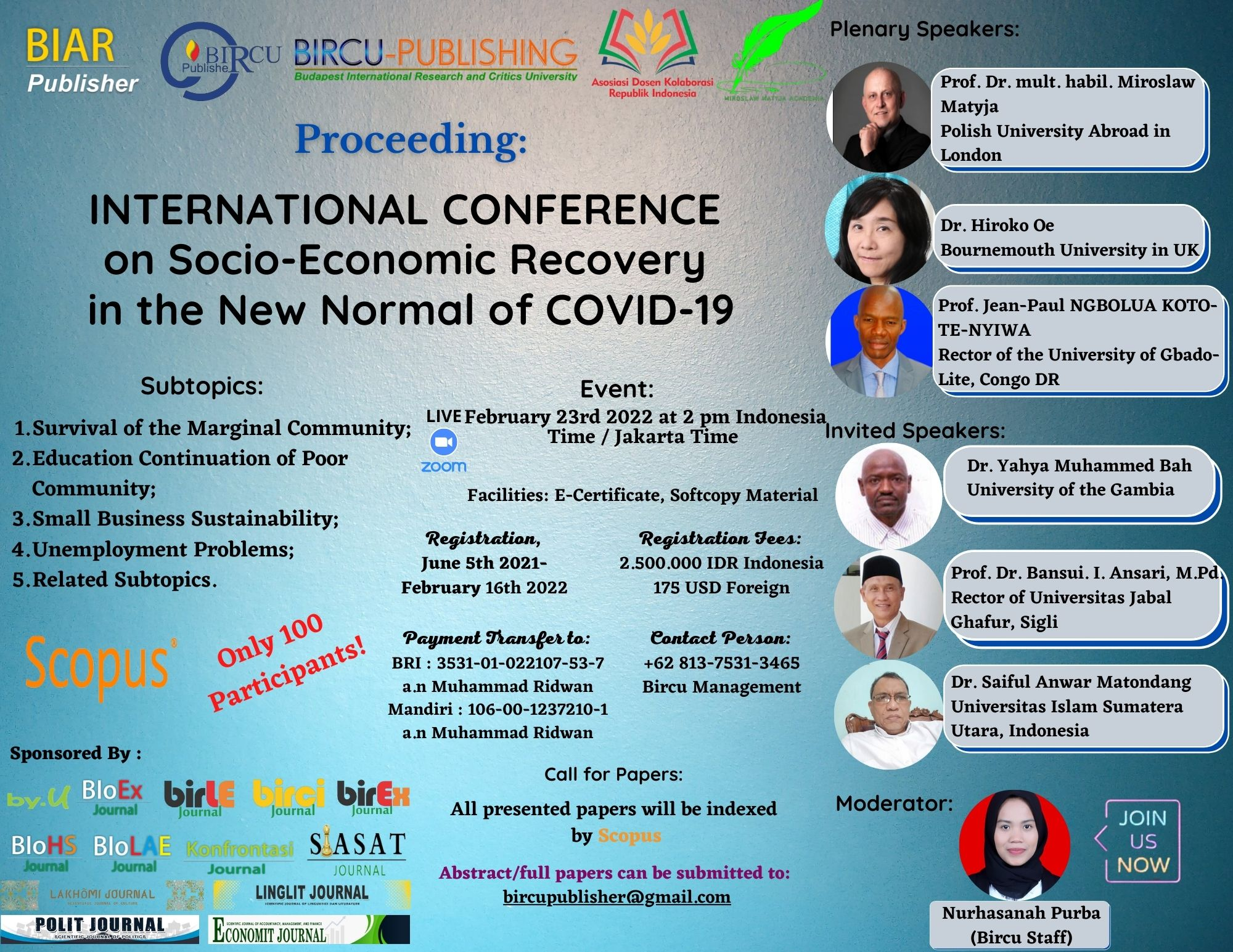 INTERNATIONAL CONFERENCE on Socio-Economic Recovery in the New Normal of COVID 19 (8)